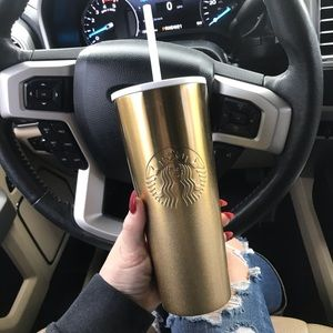 Starbucks Gold Ombré Sparkle Holiday Tumbler 24oz